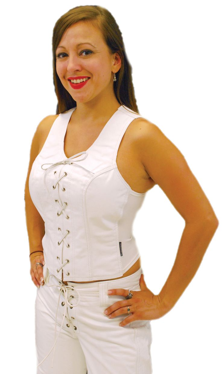 White Leather Corset with Lace Up Front #LH821LW #JaminLeather #Deals #HolidayGifts #GiftsUnder50 #GiftsForHer