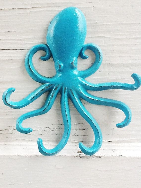 Cast Iron Octopus Wall Plaque Wall Hanger In Turquoise Blue  by AlacartCreations
