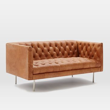 Modern Chesterfield Leather Loveseat #westelm