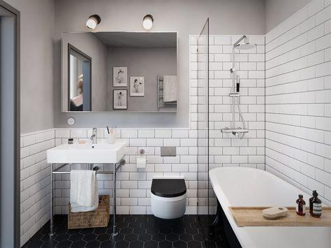 Skiss på badrum med bl a badkar på tassar
