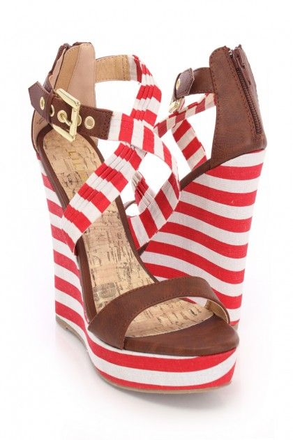 Red Cross Strap Stripe Wedges Canvas