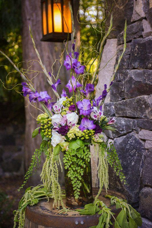 Altar Arrangement Purple Gladiolus Green Amaranthus