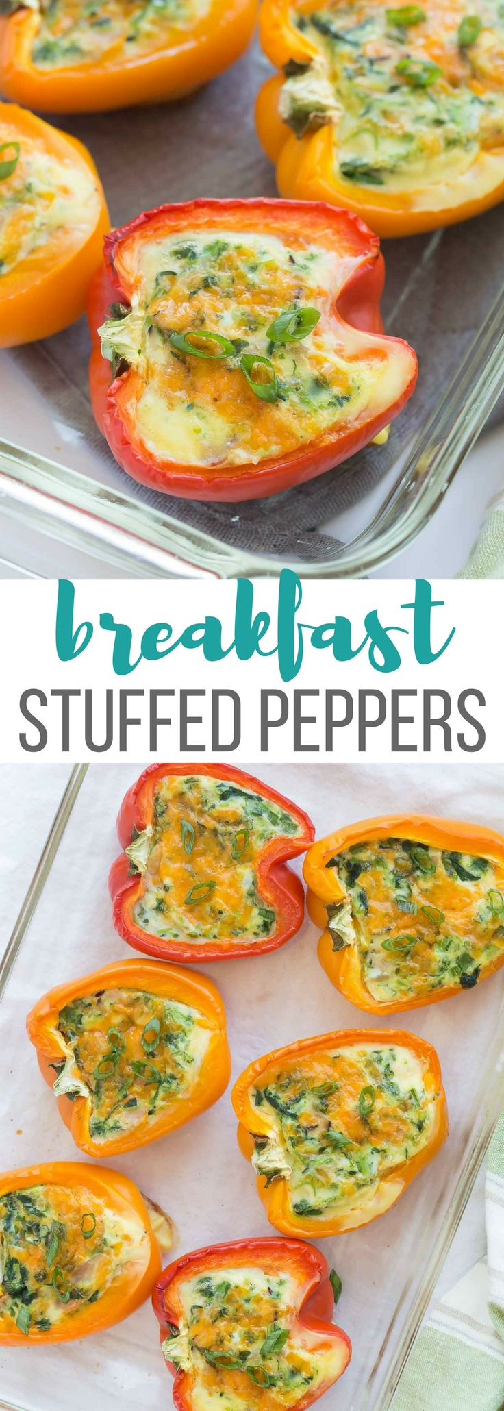These Breakfast Stuffed Peppers with cheese, bacon and spinach (or use whatever fillings you like!) are an easy, healthy, low carb breakfast, lunch or dinner! Cook them in the oven or the slow cooker! Includes step by step recipe video.