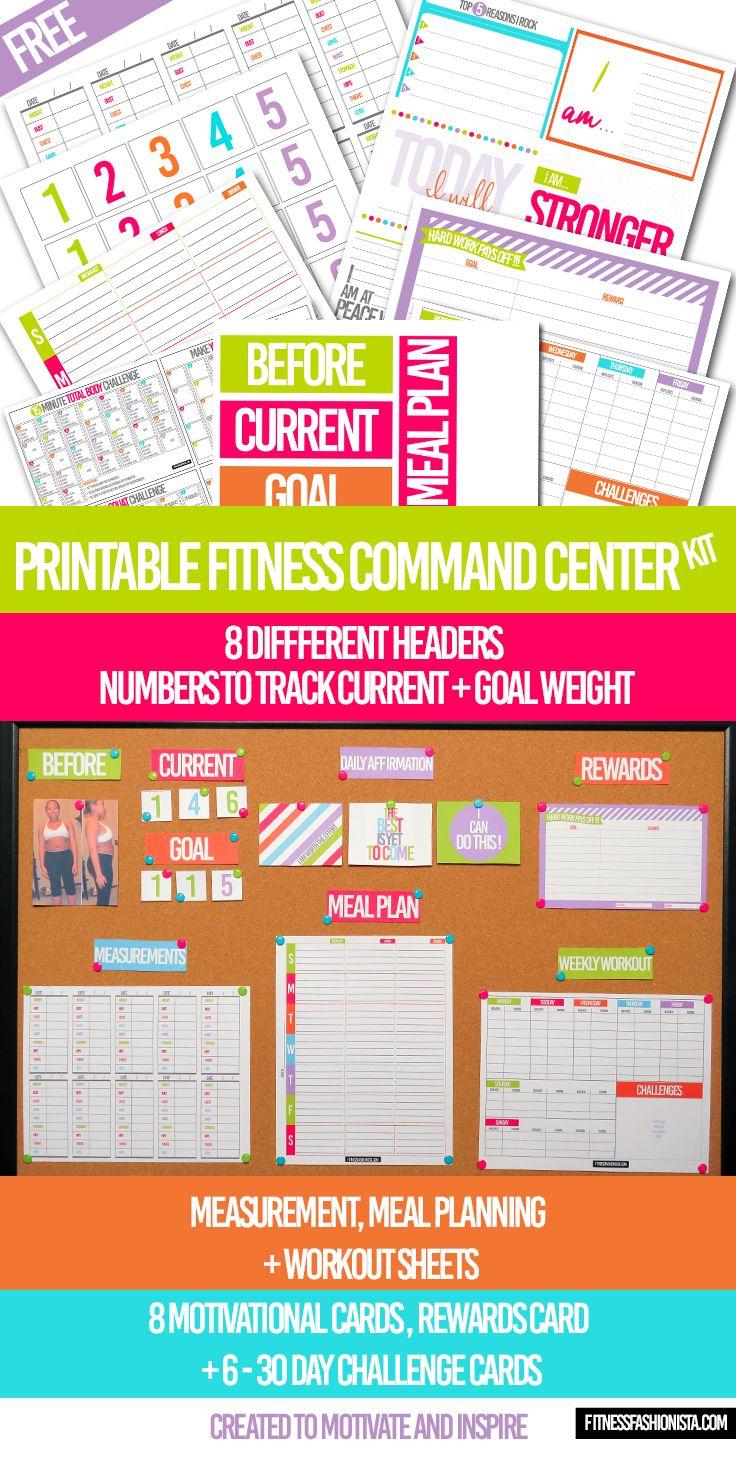 Free Printable Fitness Command Center Kit
