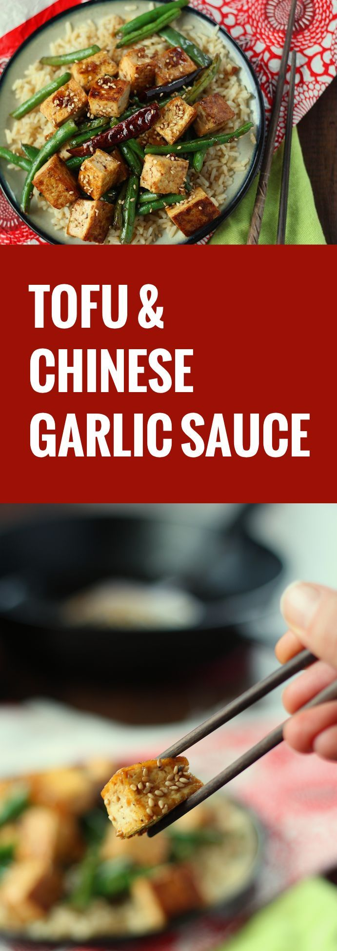 This flavorful garlic tofu stir-fry is made with crispy bit of pan-fried tofu served up with crispy green beans and drenched in Chinese garlic sauce.