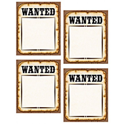 Western Wanted Posters Accents - Accents - Decoratives.  Use this decorative artwork to dress up classroom walls and doors, label bins and desks, or accent bulletin boards.