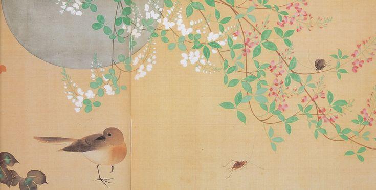 酒井抱一の'四季花鳥図巻'(部分 1818年 東博)