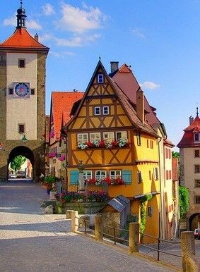 Scenic Village, Rothenburg, Germany....we walked down that street.....what a fairy tale town!