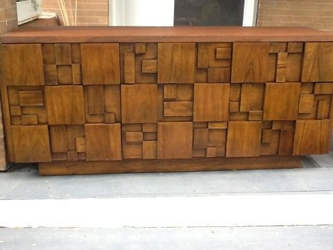 Lane Cubist Bedroom Set Headboard 2 Nightstands Tall Dresser Low Dresser