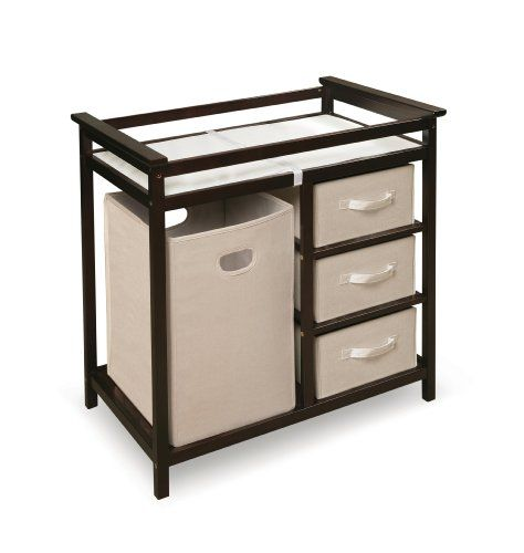 Here is a changing table that keeps everything you need in a concealed, clean look. The Badger Basket Changing Table has three drawers plus a hamper for dirty linens. Badger Basket Modern Changing Table with 3 Baskets and Hamper, Espresso