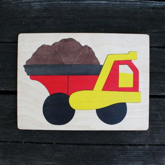 Dumptruck Wooden Puzzle - perfect for 3-4 year olds