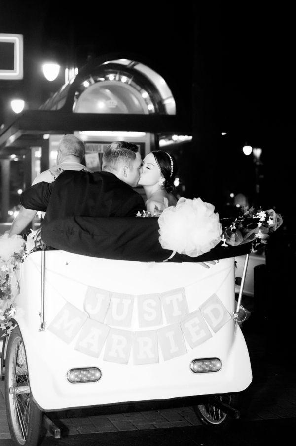 What a fun getaway vehicle! | Charlotte wedding, Charlotte wedding vendors, NC wedding, NC wedding vendors, Uptown, uptown charlotte wedding, gold, blush, navy | Rentals @partyreflections, Jewelry @finksjewelers, Venue @cltcityclub, Beauty @paperscissorsbe, Attire @nordstrom, @newyorkbride, @BHLDN, @maggiesottero, Cake @publix