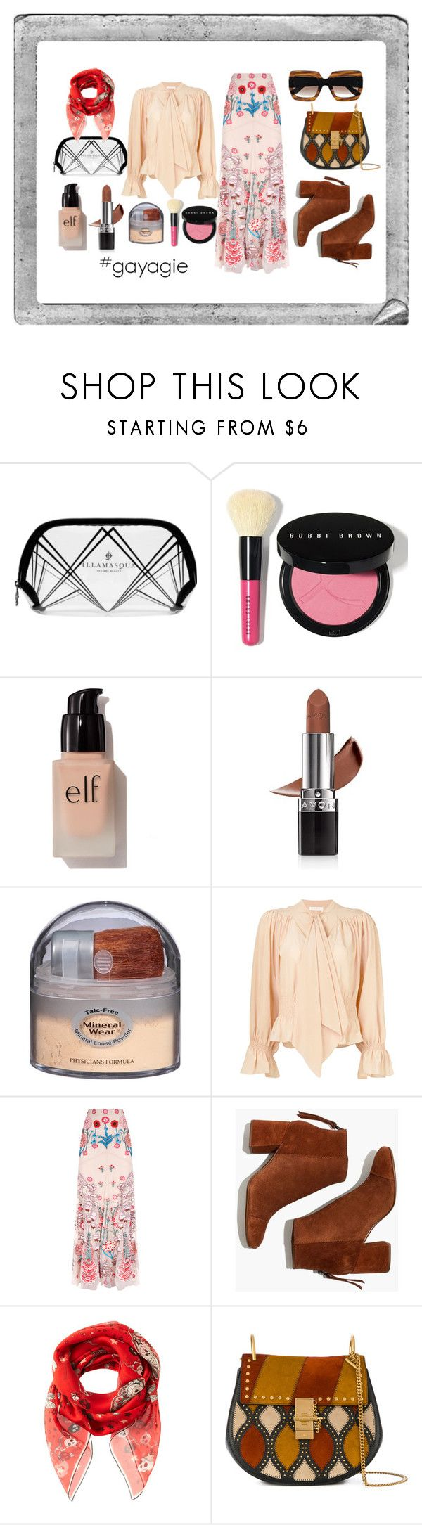 """""""Flowery Chic"""" by anggiswastika on Polyvore featuring Illamasqua, Bobbi Brown Cosmetics, e.l.f., Avon, Physicians Formula, Chloé, Temperley London, Madewell, Alexander McQueen and Gucci"""