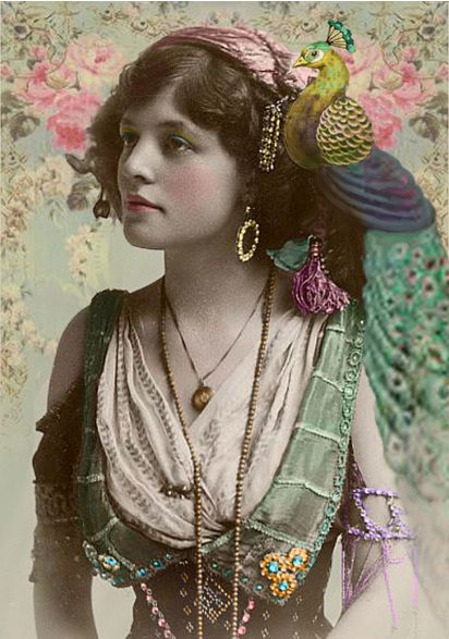 Vintage - peacock postcard (original from) Berlin 1920, early gypsy photo...'they wore a lot of jewelry and most of the women told fortunes and the men scammed people....
