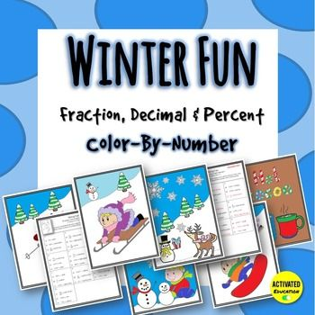 These winter math color-by-number pages provide an engaging way to review fraction, decimal, and percent operations. Converting rational numbers often requires review, especially with struggling students. Each coloring page has a different worksheet so you can easily differentiate and target the skills your students need to work on.