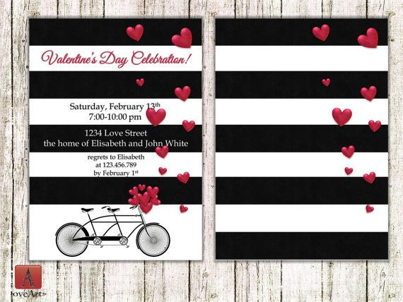 Bike Valentine's Invitation Bicycle invitation Bike by LoveArtSyou