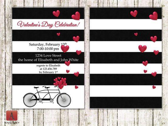 Bike Valentine's Invitation Bicycle invitation Bike by LoveArtSyou