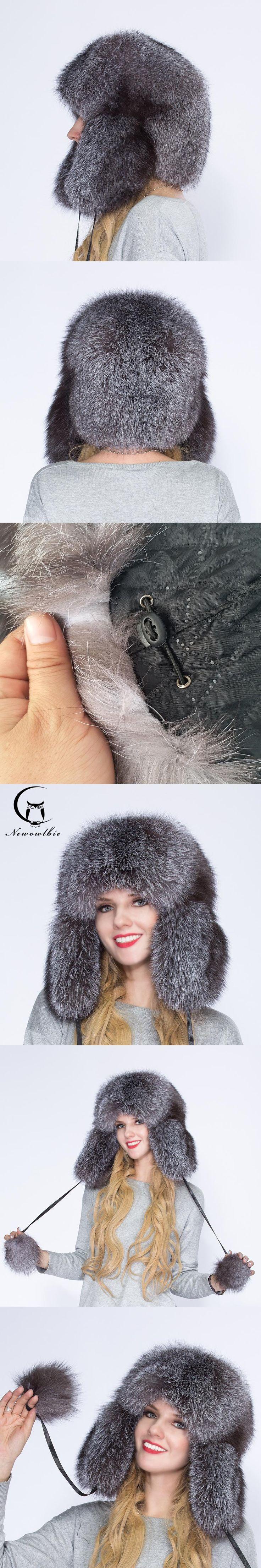 2017 100% natural fox fur men and women winter hat, warm and comfortable, full of silver fox fur tyrant cap, ear cap