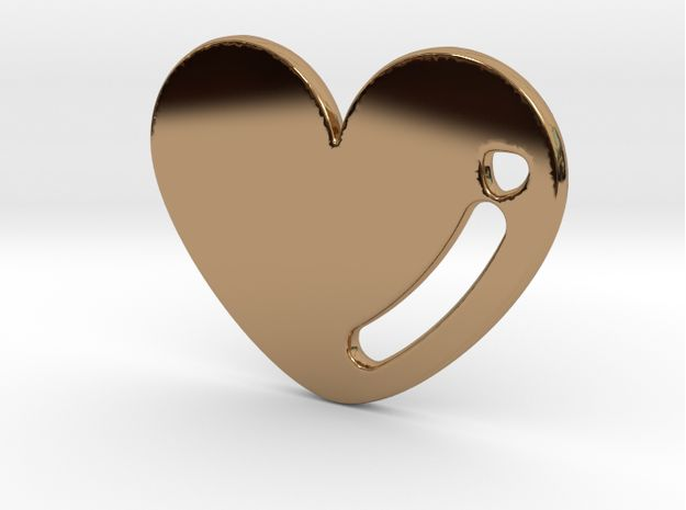 Polished Brass Love Heart Pendant 3d printed