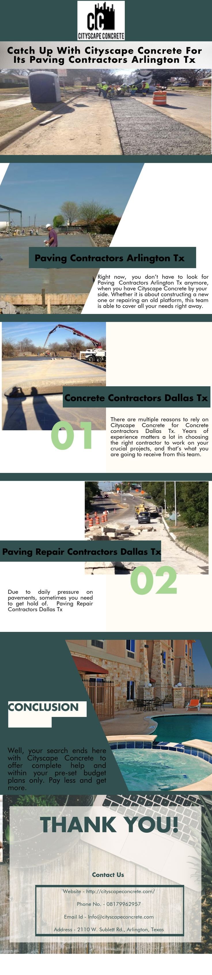 Due to daily pressure on pavements, sometimes you need to get hold of Paving Repair Contractors Dallas Tx. Well, your search ends here with Cityscape Concrete to offer complete help and within your pre-set budget plans only. Pay less and get more.