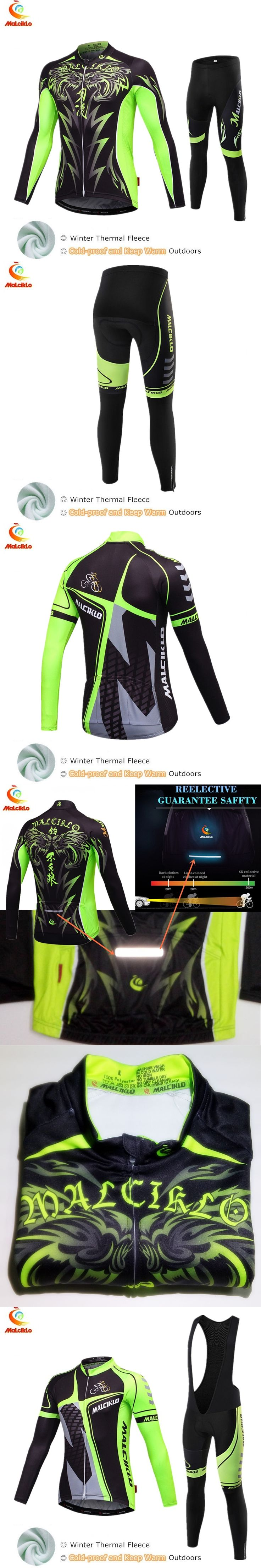 Malciklo 2017 Winter Thermal Fleece Cycling Clothing Bike Wear Clothes Men Pro Cycling Jersey Set Maillot Ropa Ciclismo Invierno