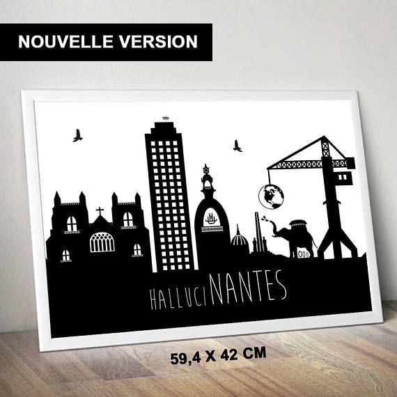 Affiche Nantes Minimaliste Noir Et Blanc Grand Format Novelty Sign Nantes Black And White