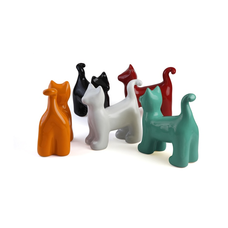 """Limited edition ceramic sculpture from Peru evokes the art and spirit of Keith Haring. - PopCat - H 7"""" 