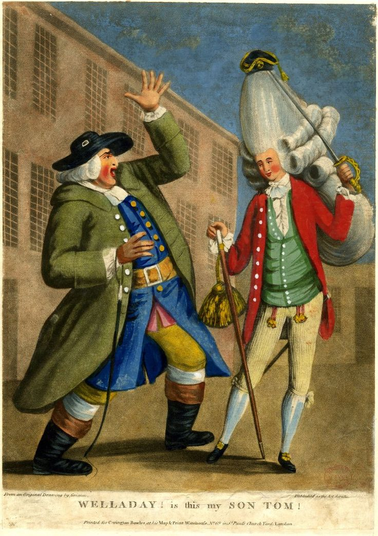Satire: a farmer come to town starts back in horror at seeing his son dressed as a macaroni with high wig, cane and sword.  1774 Hand-coloured mezzotint