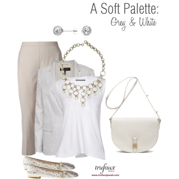 A Soft Palette: Grey & White by trufaux on Polyvore featuring a Silver Ring Art Deco Bib Necklace from TruFaux Jewels.