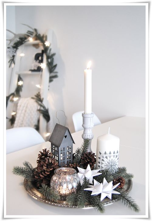 each table could have one of these .. a silver tray and candles and evergreens and snowflakes ...