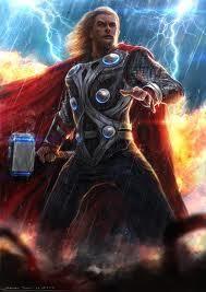 THOR – Deus do Trovão, da Vingança e das Forças da Natureza em geral, era o mais poderoso dos deuses em batalha, considerado até invencível, embora fosse o menos inteligente deles. Possuia um mítico martelo, Mjollnir, com o qual podia atirar relâmpagos e destruir qualquer coisa, e um cinto, Megingjard, que lhe dava força extrema. Thor deu origem ao termo Thorsday, posteriormente convertido para Thursday, que significa quinta-feira em inglês.
