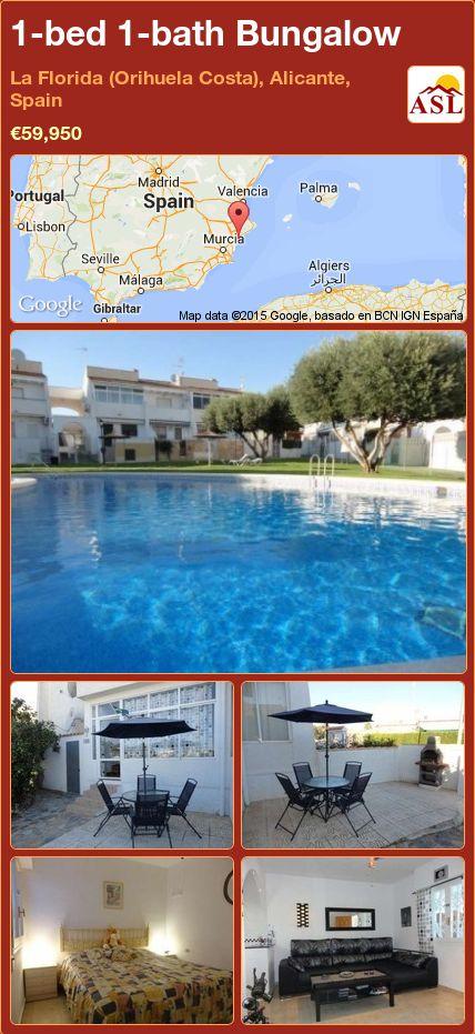 1-bed 1-bath Bungalow in La Florida (Orihuela Costa), Alicante, Spain ►€59,950 #PropertyForSaleInSpain