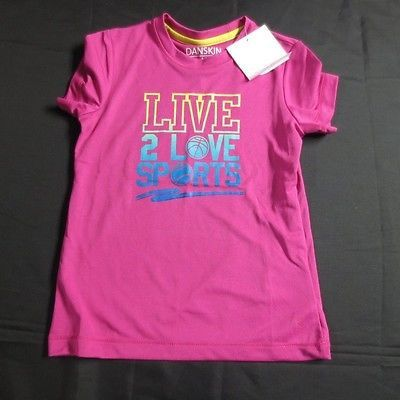Girls' Active Poly Tee, X-Small 4-5, Pink Live 2 Love Sports Danskin Now