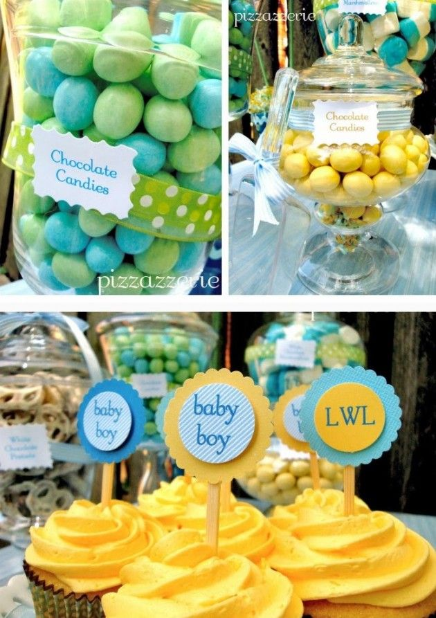 Yellow and blue baby boy shower inspiration