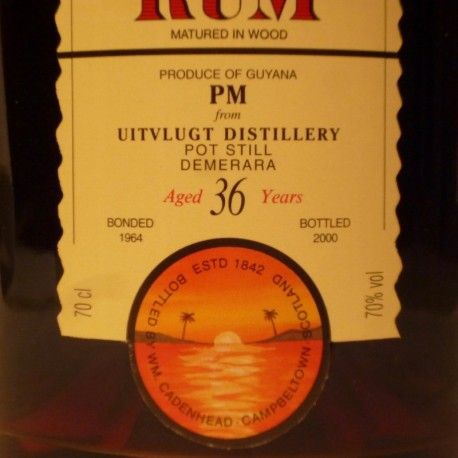 A bottle of authentic demerara rum, distilled from the legendary Uitvlugt after aging for 36 years in Scotland. The history of this bottle of rum is really unique. It begins in 1964 when the Uitvlug distills the harvest of sugar cane plantation of his own and puts it to age in barrels. Later a part of this vintage is sold to Cadenhead's, one of the most famous brands in the world for the marketing and spirits bottling. This stock of rum reaches Europe, more precisely Scotland, where it rests…