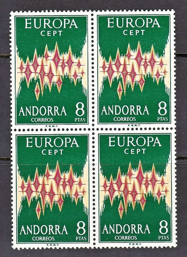 ANDORRA SCOTTt# 62 1972 EUROPA CEPT BLOCK OF 4 STAMPS, MNH