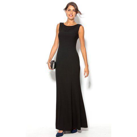 Robe longue de soirée sans manches nœud dos femme