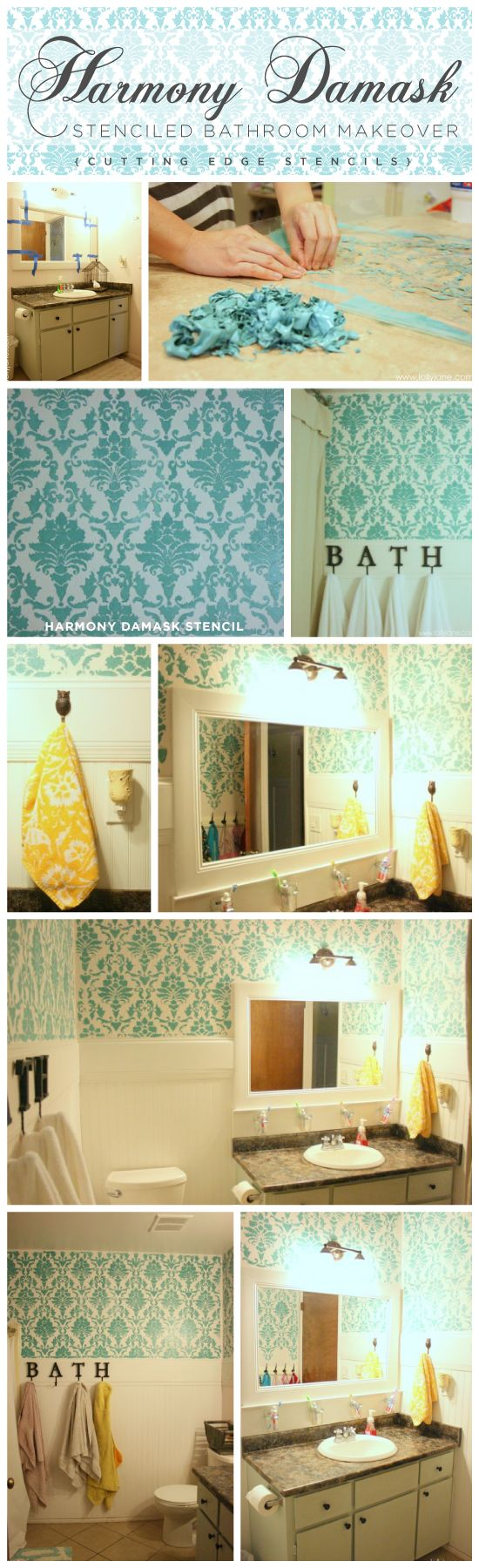 Beautiful and affordable DIY bathroom makeover using the Harmony Damask Stencil by Cutting Edge Stencils. http://www.cuttingedgestencils.com/acanthus-damask-stencil.html