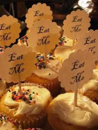 """""""Eat Me"""" cupcake toppers. I'm suddenly craving a vintage style Alice in Wonderland themed wedding."""