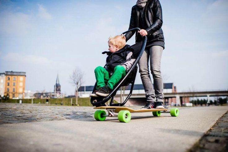 poussette Quinny Jett avec longboard: l'avenir de la mobilité urbaine