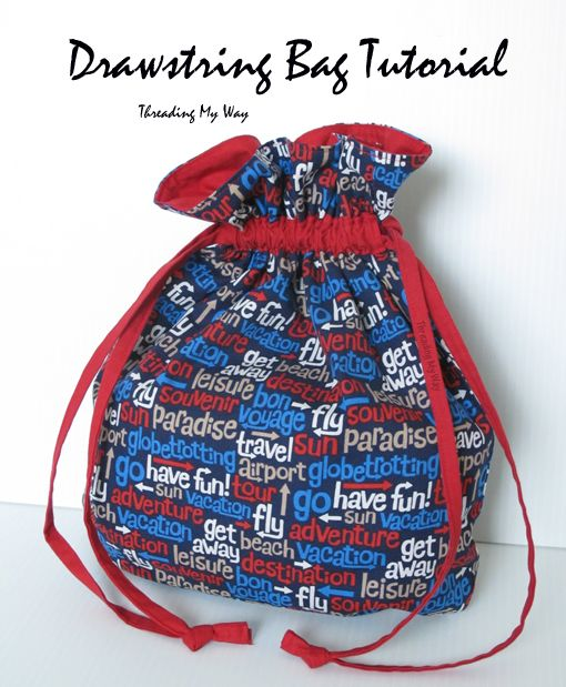 Drawstring Bag Tutorial... Finally found instructions. A small variation for the casing, but it would work great.