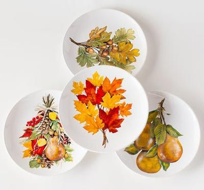 Fall Leaves Salad Plates by One Hundred 80 Degrees. Features the beautiful watercolor artwork of Mary Lake Thompson a design of fall leaves nuts ... & 43 best Mary Lake Thompson images on Pinterest | Christmas deco ...