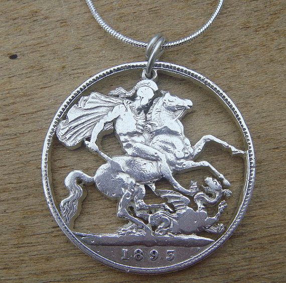 Cut coin necklace  1895 silver crown  depicting St George and the dragon