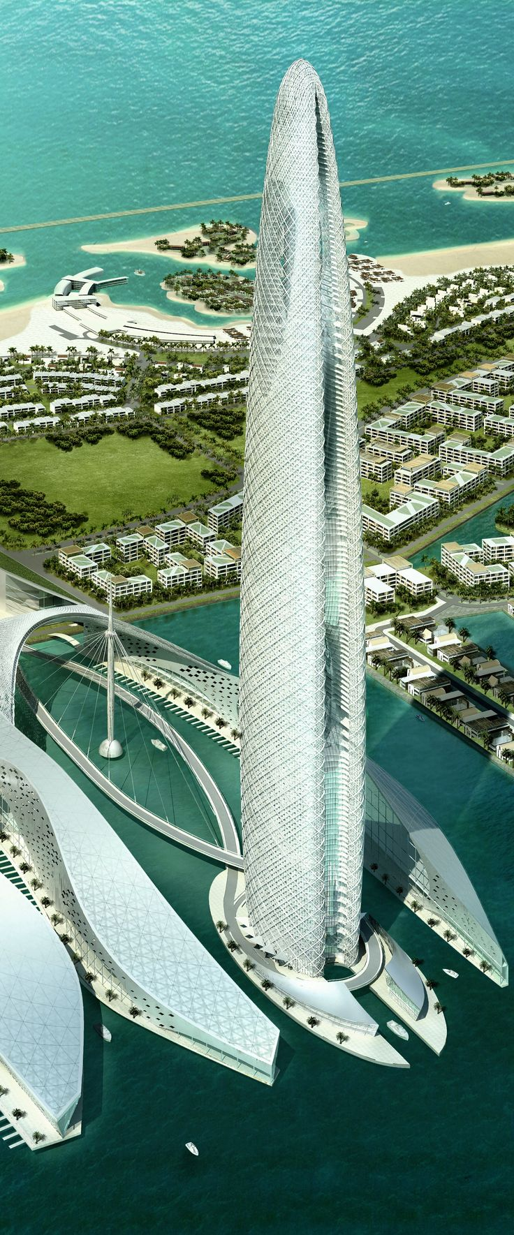 Lulu Island Tower, Abu Dhabi, UAE designed by Skidmore, Owings & Merrill (SOM) Architects :: 75 floors, height 400m