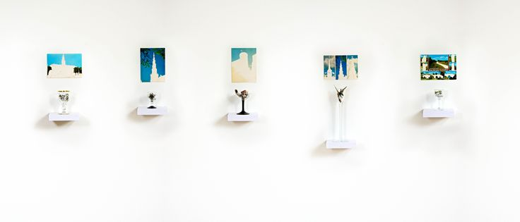 Installation, snap cups, old postcards
