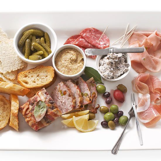 Savory Party Platter: Give your appetizer tray a signature touch with homemade dips, spreads, or pork pâté with fruit and nuts rounded out with a few purchased ingredients so there's plenty to nibble on. Serve with: Crackers or flatbread, Sour gherkins, Cured meats, Dijon-style mustard, Olives, and Baguette slices.  (See separate pin for pork pâté recipe.)