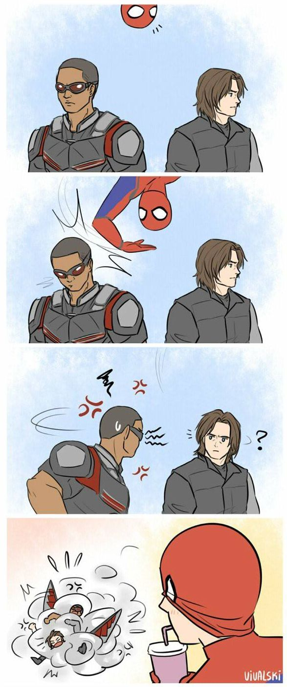 Bucky, Falcon, Spiderman fan art, Funny