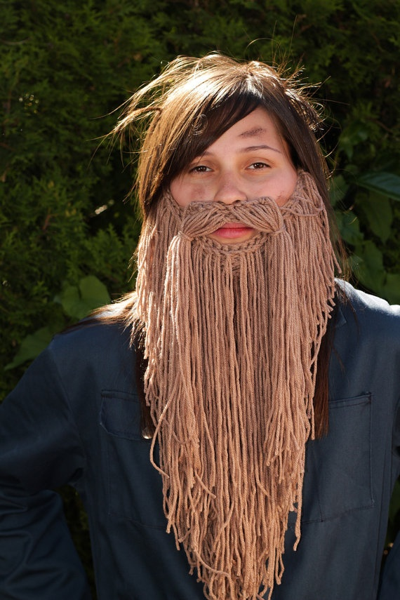 Pretty good yarn mustache/beard! Looks for comfortable (for kids especially) than sythetic fake hair! on Esty
