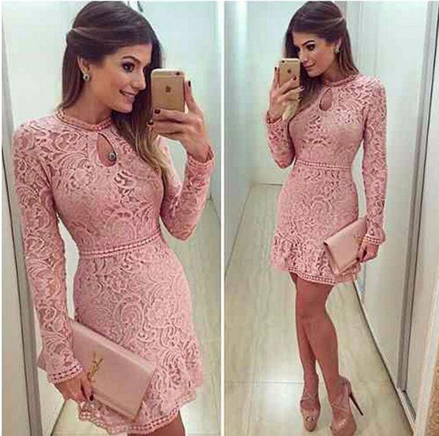 2016 Autumn Fashion Casual Womens Sexy Dresses Party Night Club Dress Fall Long Sleeve Pink Lace Dress Brasil Vestidos De Festa
