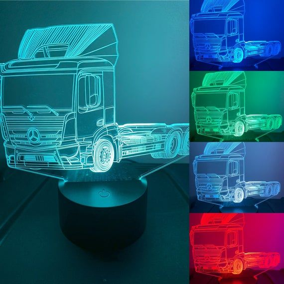 Mercedes Truck 3d Illusion 7 Colors Changing Led Lamp With Etsy 3d Led Lamp Color Changing Led 3d Illusions